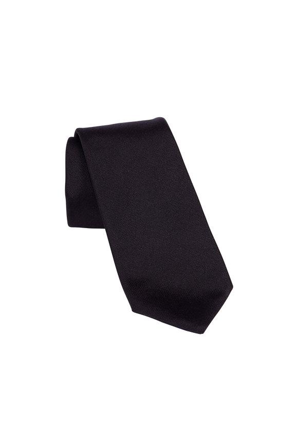 Paolo Albizzati Black Silk Skinny Necktie