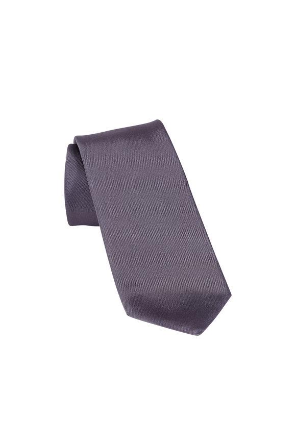 Paolo Albizzati Charcoal Grey Silk Skinny Necktie