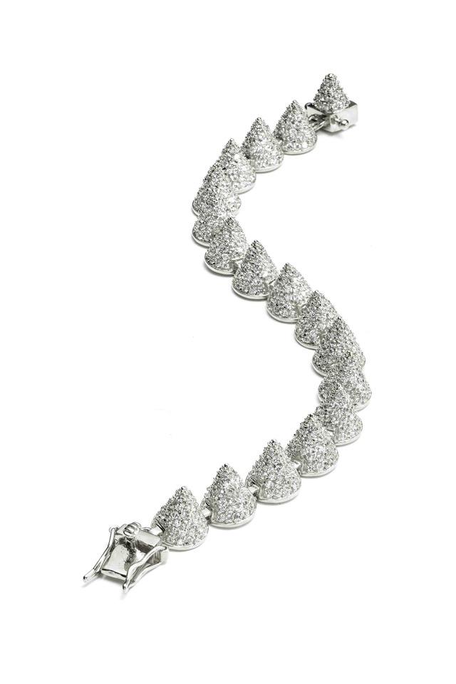 Sterling Silver Pavé-Set Cone Bracelet