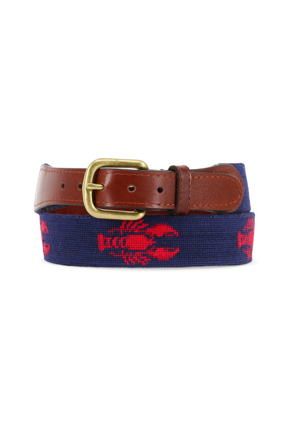 Smathers & Branson Navy Blue Lobster Needlepoint Belt