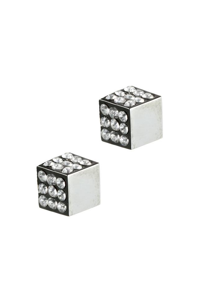 Gunmetal Pavé-Set Cube Stud Earrings