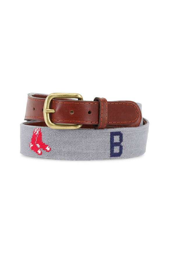 Smathers & Branson Gray Boston Red Sox Needlepoint Belt