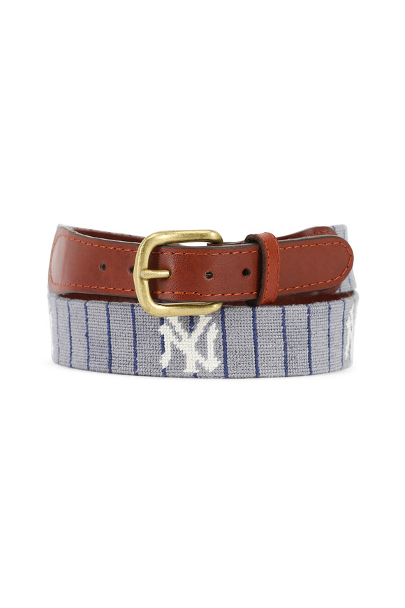 Smathers & Branson Gray New York Yankees Needlepoint Belt