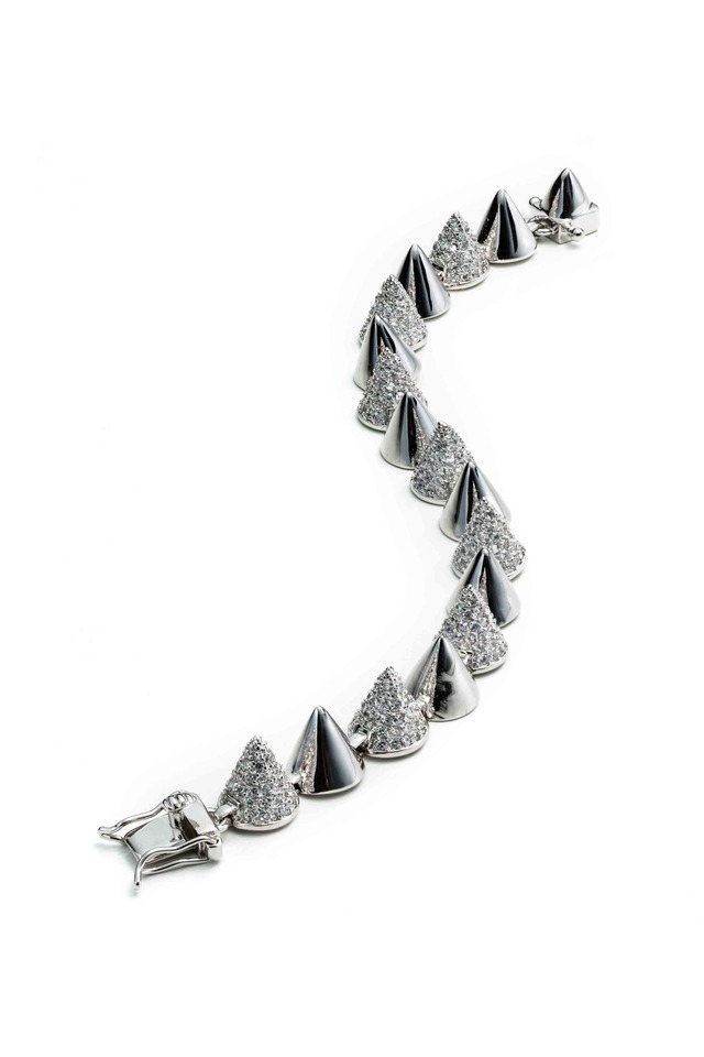 Sterling Silver Alternating Pavé-Set Cone Bracelet