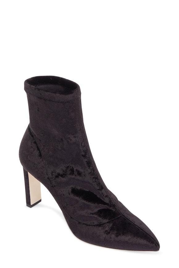 Jimmy Choo Louella Black Stretch Velvet Ankle Boot, 85mm