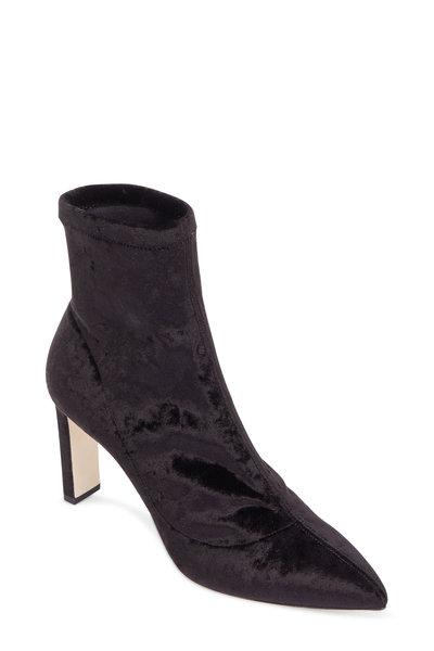 Jimmy Choo - Louella Black Stretch Velvet Ankle Boot, 85mm