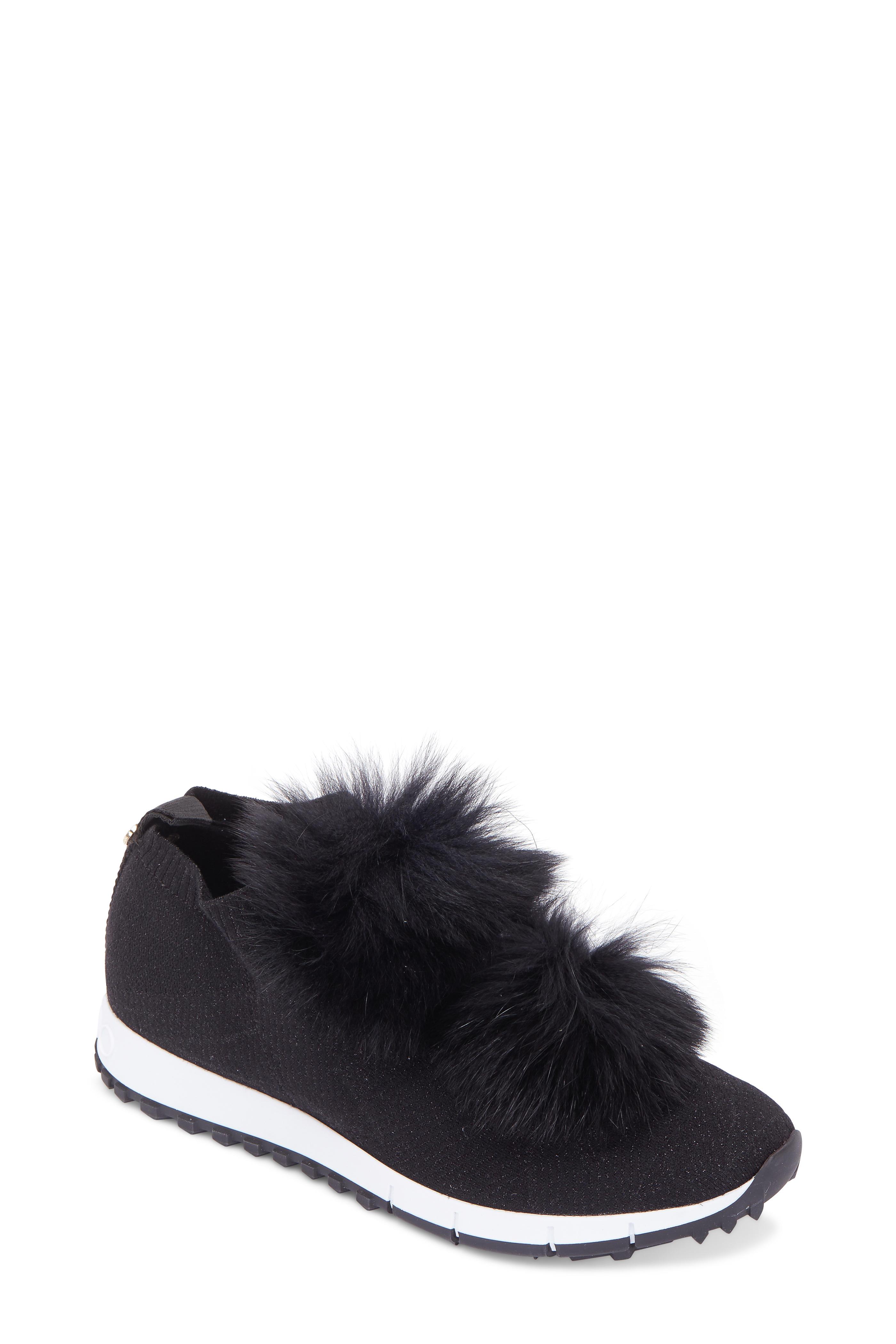 472a20d898bf Jimmy Choo - Norway Black Knit   Fur Pom-Pom Sneaker