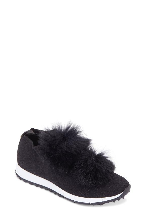 Jimmy Choo Norway Black Knit & Fur Pom-Pom Sneaker