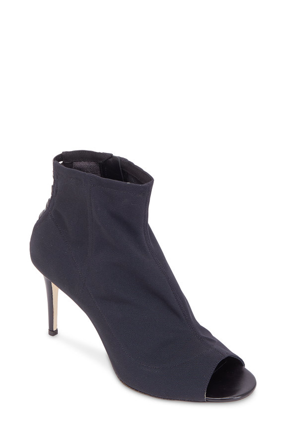 Jimmy Choo Driana Black Mesh Open-Toe Bootie, 85mm