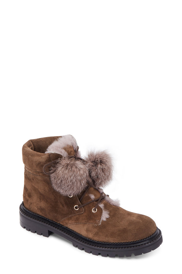 Jimmy Choo Mink Suede Fur Lined Pom-Pom Lug Sole Boot