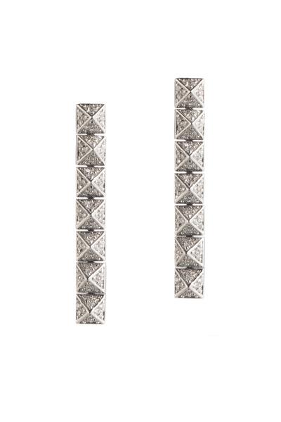 Eddie Borgo - Sterling Silver Pavé-Set Pyramid Drop Earrings