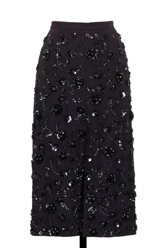 Michael Kors Collection Black Embellished Front Slit Skirt