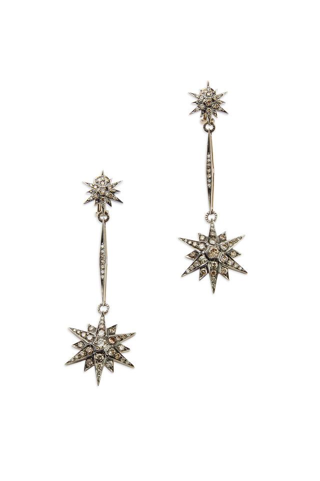 Noble Gold Diamond Stars Dangle Earrings