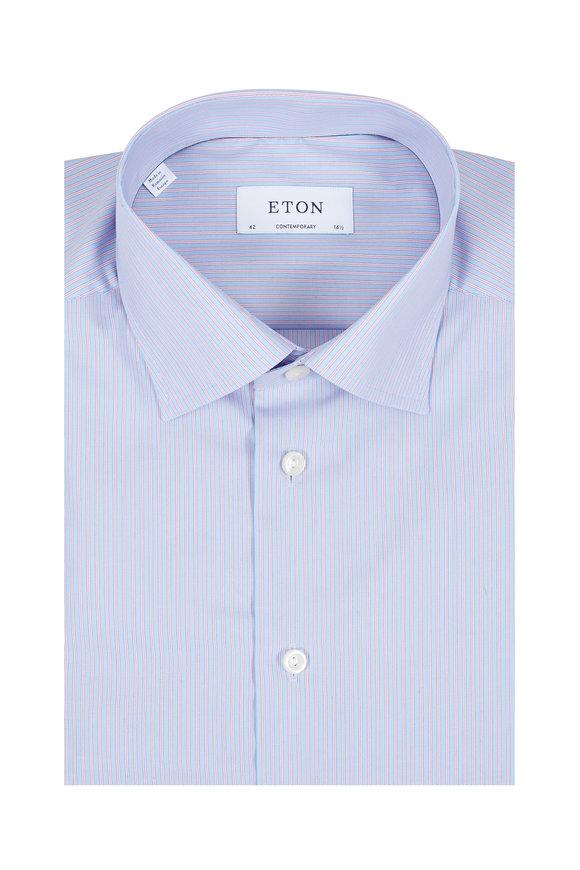 Eton Blue & Pink Stripe Contemporary Fit Dress Shirt
