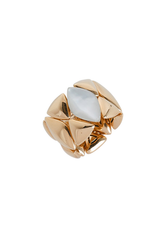 Vhernier 18K Rose Gold Mother-Of-Pearl Freccia Ring