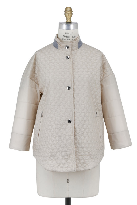 Bogner Felica Cream Quilted Stand Collar Jacket