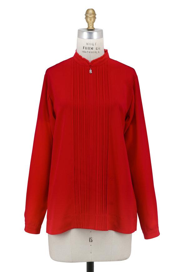 Bogner Fiorenza Red Silk Pleated Front Blouse