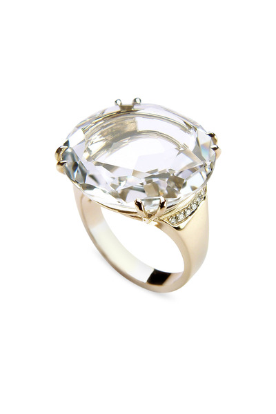 H. Stern - Noble Gold Round Rock Crystal Diamond Ring