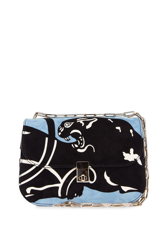 Valentino Light Blue Suede Panther Embossed Chain Bag