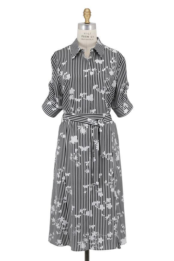 Altuzarra Black Striped & Floral Print Belted Shirtdress
