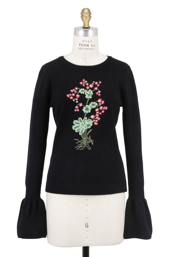 Altuzarra Black Wool Floral Embroidered Bell Sleeve Sweater