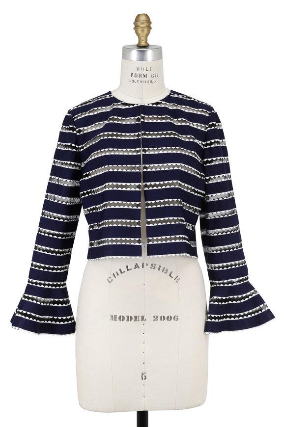 Oscar de la Renta Navy Blue & White Illusion Striped Jacket