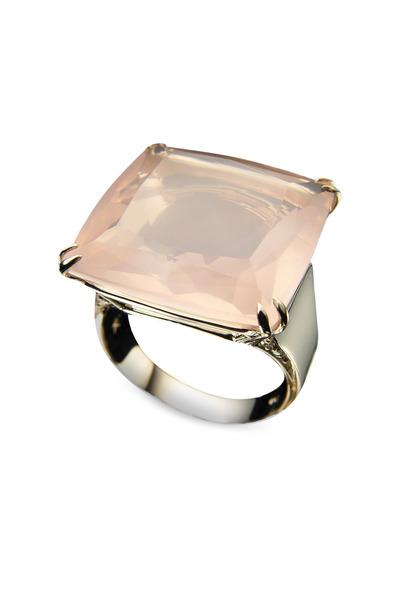 H. Stern - Gold Rose Quartz Cobblestone Square Diamond Ring