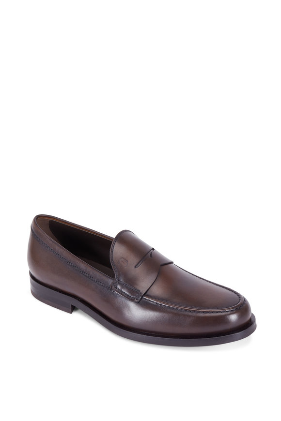 Tod's Gomma Brown Leather Penny Loafer