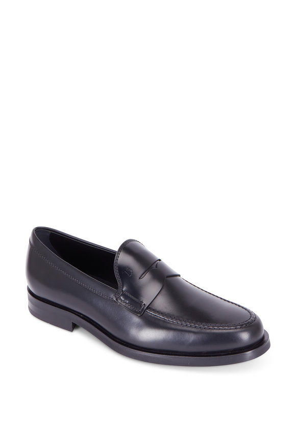 Tod's Gomma Black Leather Penny Loafer