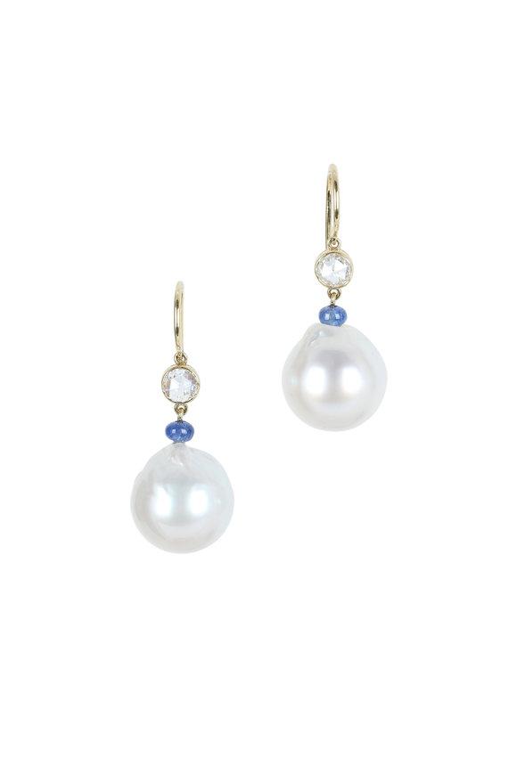 Assael 18K Gold South Sea Pearl & Sapphire Earrings