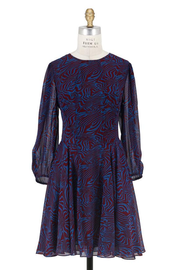 Derek Lam Blue & Burgundy Zebra Print Long Sleeve Dress