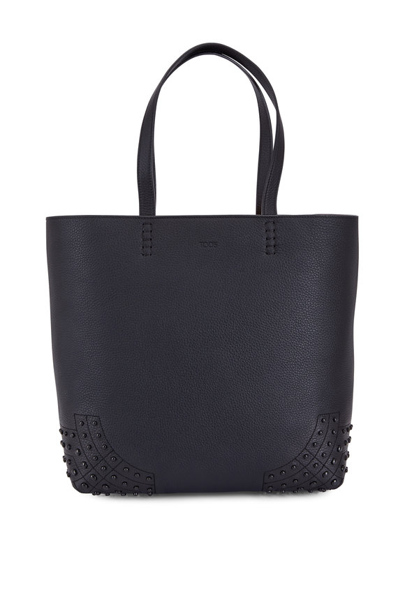 Tod's Black Pebbled Leather Gommini Tote