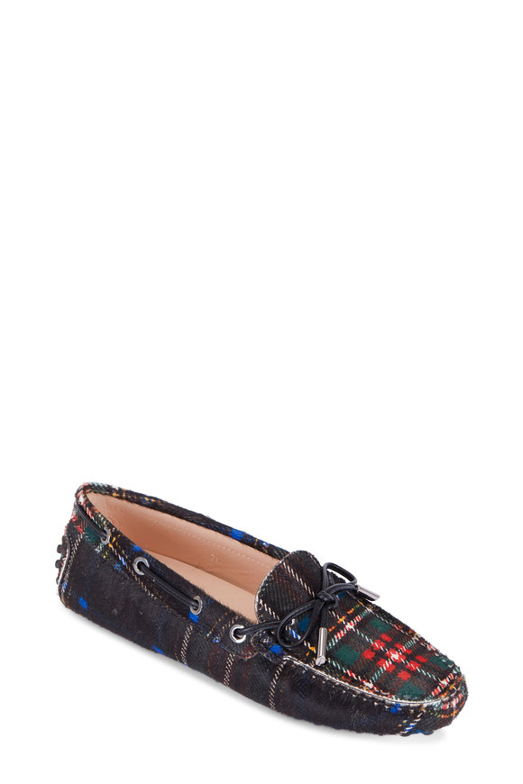 Tod's Heaven Black Plaid Calf-Hair Tie Driver