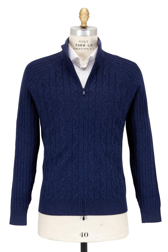Brunello Cucinelli Blue Cable Knit Cashmere Full Zip Cardigan