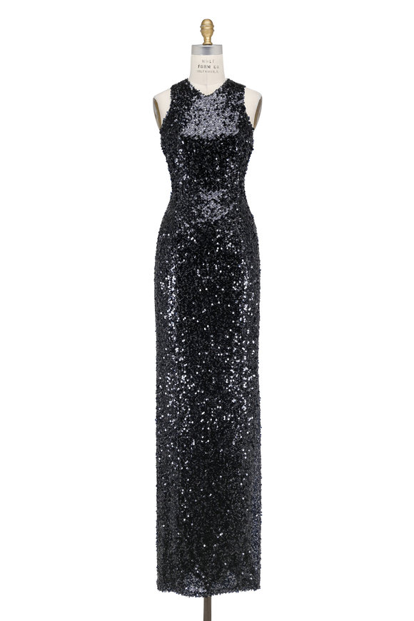 Galvan Ink Blue Sequin Racerback Column Gown