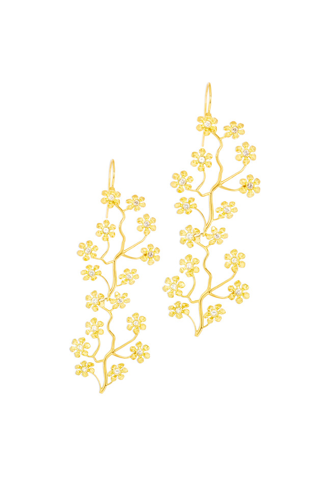 Gold Double Cherry Blossom Earrings