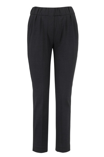 Brunello Cucinelli - Anthracite Monili Racing Striped Pull-On Pant