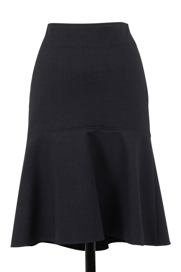 Brunello Cucinelli Anthracite Scuba Wool Peplum Skirt