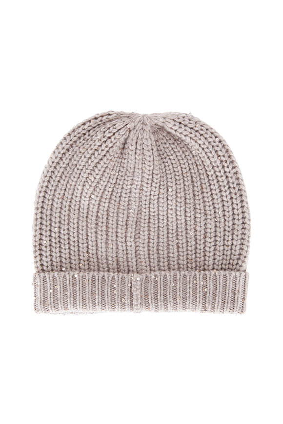 Brunello Cucinelli Chinchilla English Ribbed Cashmere Pailette Beanie