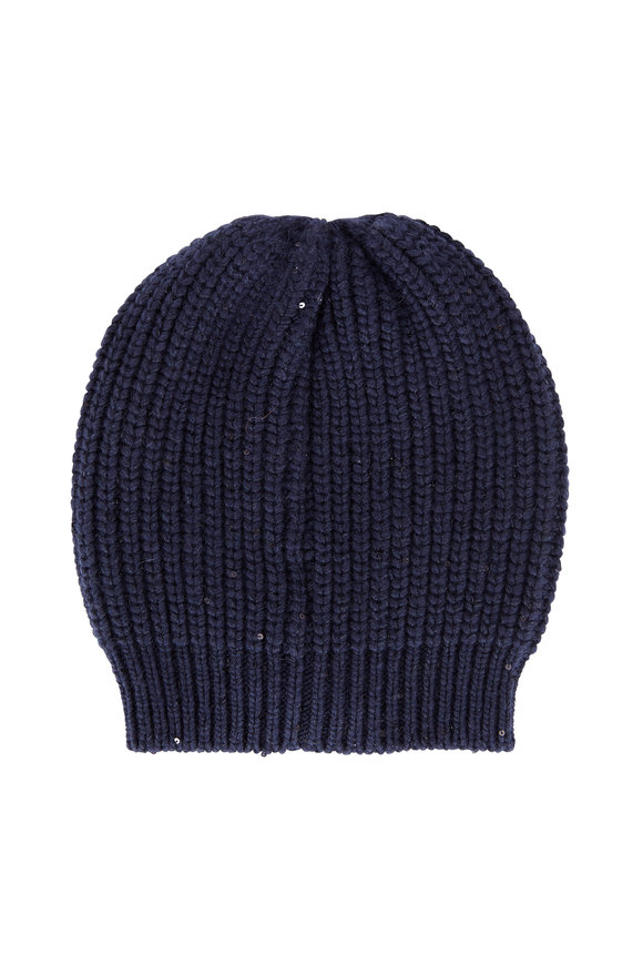 Brunello Cucinelli Navy English Ribbed Cashmere Pailette Beanie
