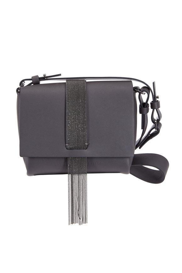 Brunello Cucinelli Carbon Leather Monili Fringed Mini Shoulder Bag