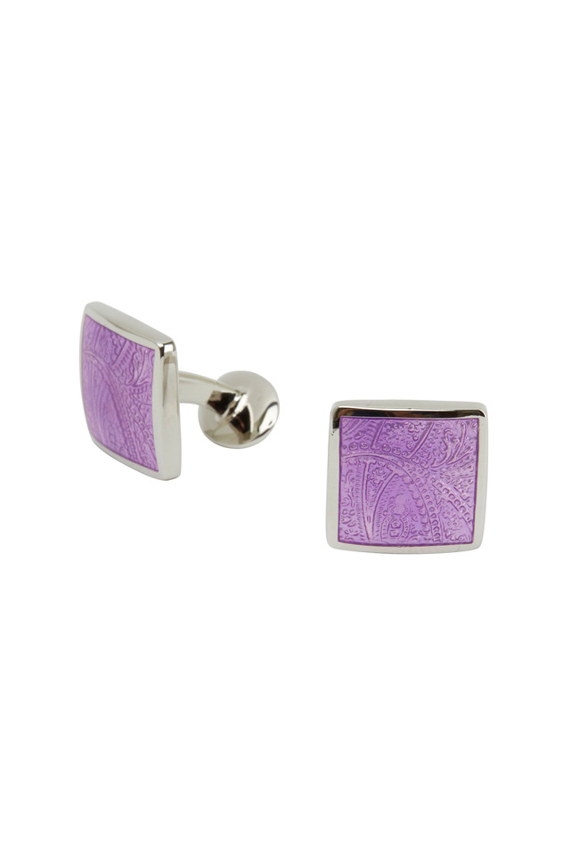 Sterling Silver Purple Paisley Cuff Links