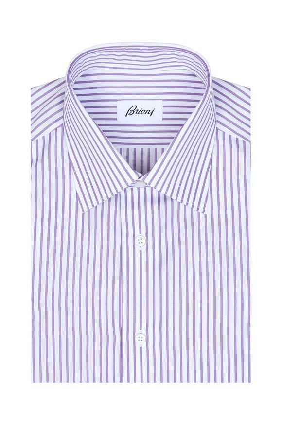Brioni Purple & White Striped Dress Shirt
