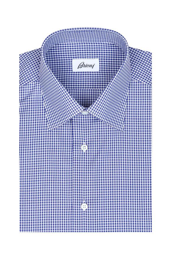 Brioni Navy Blue Check Dress Shirt