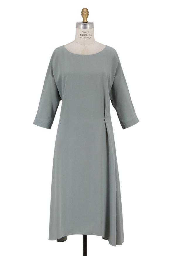 Olivine Gabbro Roman Hinge Sage Three-Quarter Sleeve Dress