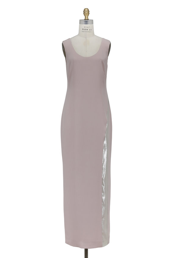 Olivine Gabbro Rose Silk Metallic Brocade Stripe Sleeveless Gown