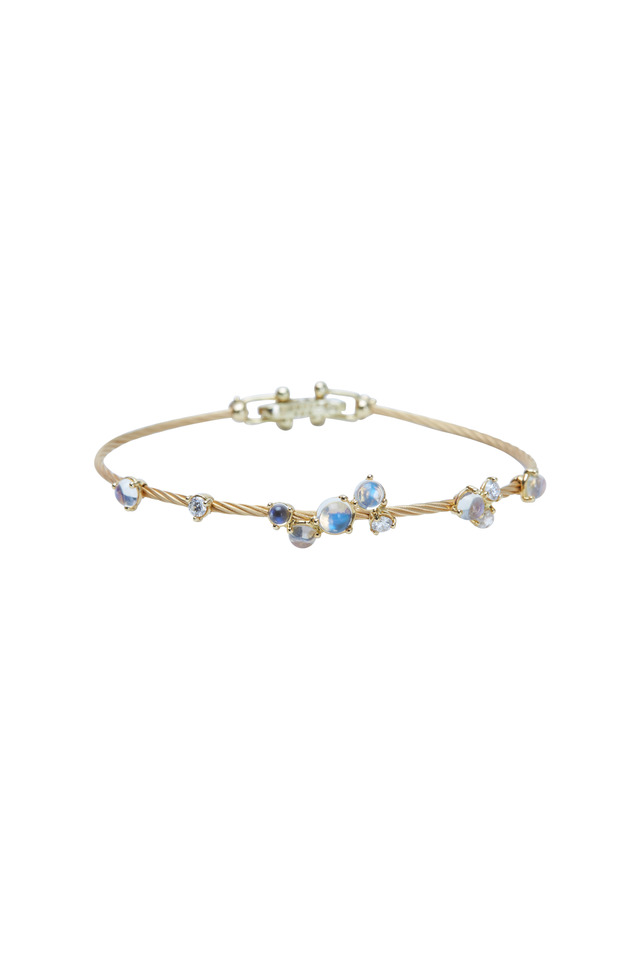 Yellow Gold Moonstone Bubble Bracelet