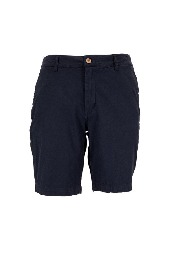 Tailor Vintage Navy Stretch Linen & Cotton Shorts