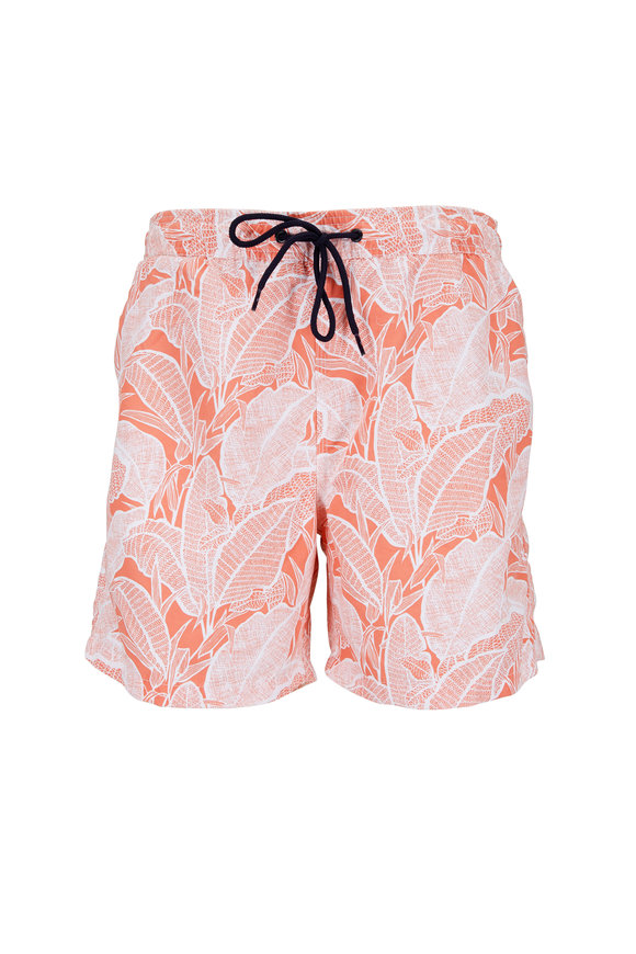 Tailor Vintage Emberglow Banana Leaf Printed Swim Trunks