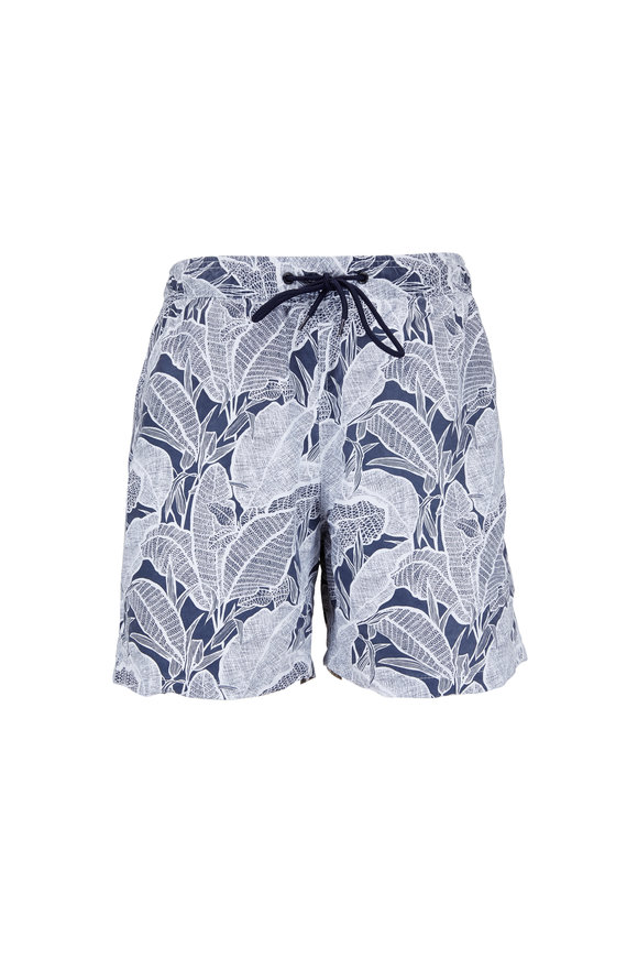 Tailor Vintage Navy Banana Leaf Printed Swim Trunks